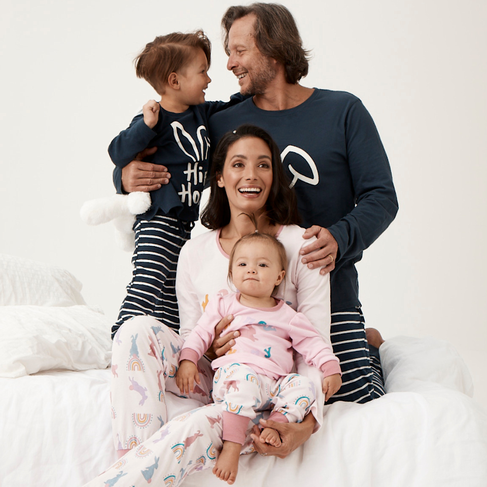 A family of four dressed in matching pjs from Best and Less