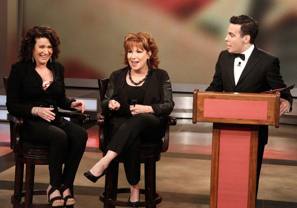 "Susie Essman, Joy Behar, and Mario Cantone on Joy's final episode as co-host of ABC's ""The View"" on Friday, August 9, 2013."