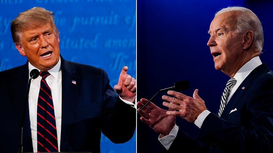 CLEVELAND, OH - SEPTEMBER 29: President Donald Trump speaks during the first presidential debate with former Vice President Joe Biden at Case Western Reserve University in Cleveland, Ohio on Tuesday, Sept. 29, 2020. (Photo by Melina Mara/The Washington Post via Getty Images)  CLEVELAND, OH - SEPTEMBER 29: Former Vice President Joe Biden speaks during the first presidential debate with President Donald Trump at Case Western Reserve University in Cleveland, Ohio on Tuesday, Sept. 29, 2020. (Photo by Melina Mara/The Washington Post via Getty Images)