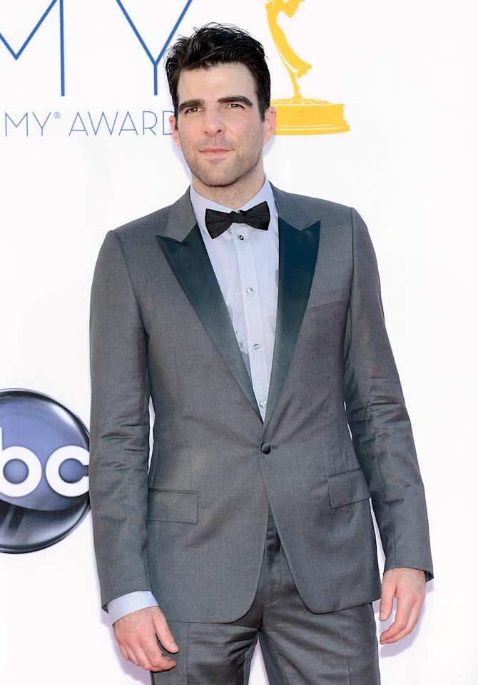 LOS ANGELES, CA - SEPTEMBER 23:  Actor Zachary Quinto arrives at the 64th Annual Primetime Emmy Awards at Nokia Theatre L.A. Live on September 23, 2012 in Los Angeles, California.  (Photo by Kevork Djansezian/Getty Images)