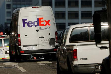 FILE PHOTO:  A Federal Express delivery truck is shown in downtown Los Angeles
