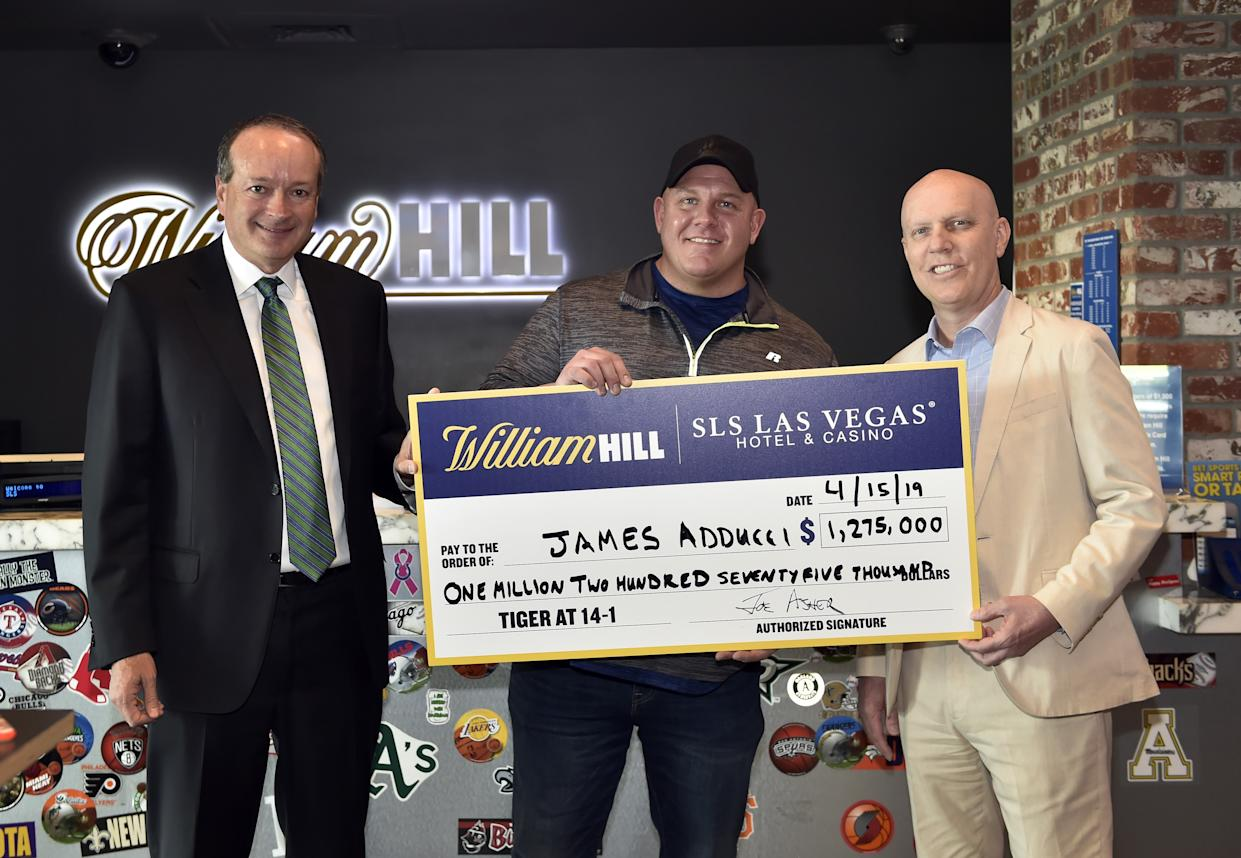 "<h1 class=""title"">William Hill US Presents Bettor With $1.19M Check At William Hill Sports Book At SLS Casino After Tiger Woods' Masters Victory</h1> <cite class=""credit"">(Photo by David Becker/Getty Images for William Hill US)</cite>"