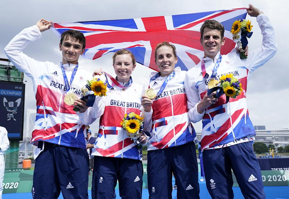 Great Britain's Alex Yee, Georgia Taylor-Brown Jessica Learmonth and Jonathan Brownlee on the podium with the gold medal for the Triathlon Mixed Relay (Danny Lawson/PA) (PA Wire)