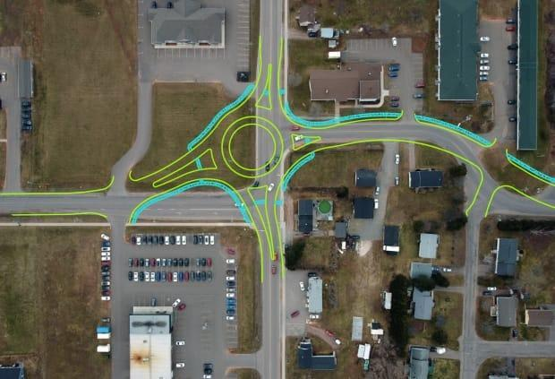 An overhead view of the intersection of Pope and Central, with a sketch of the roundabout. (Justin Doiron - image credit)