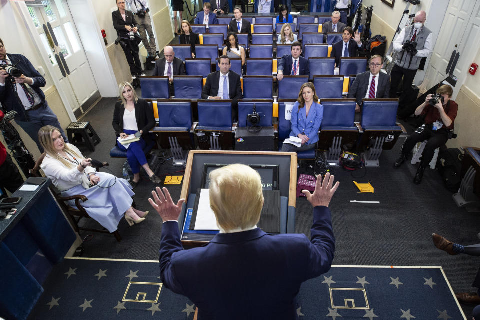 President Donald Trump speaks about the coronavirus in the James Brady Press Briefing Room of the White House, on April 6, 2020, in Washington. (Alex Brandon/AP)
