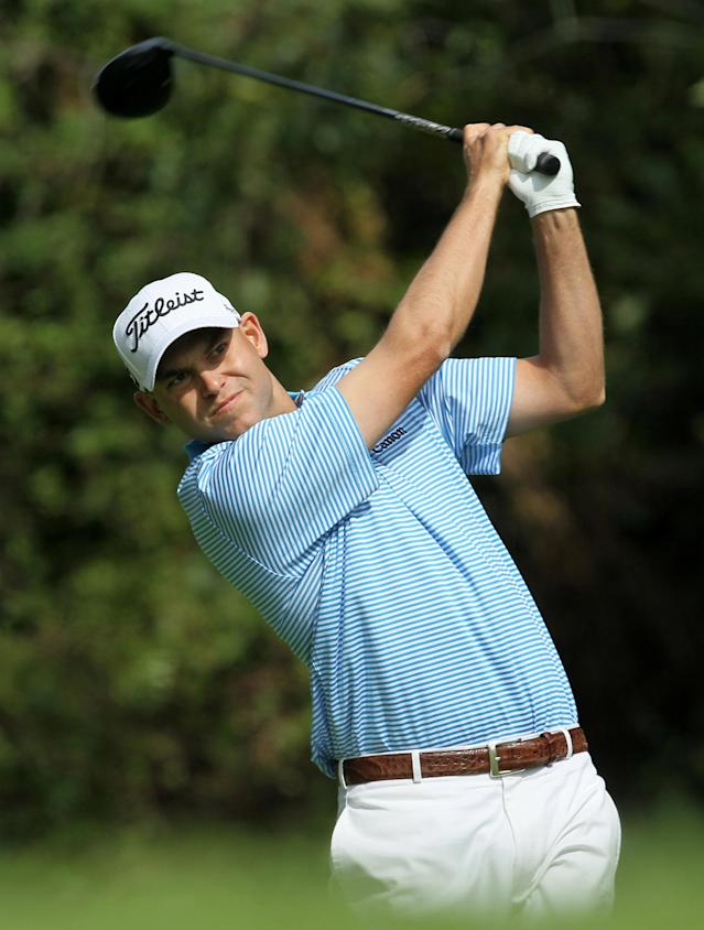 PACIFIC PALISADES, CA - FEBRUARY 19: Bill Haas hits his tee shot on the 12th hole during the final round of the Northern Trust Open at Riviera Country Club on February 19, 2012 in Pacific Palisades, California. (Photo by Stephen Dunn/Getty Images)