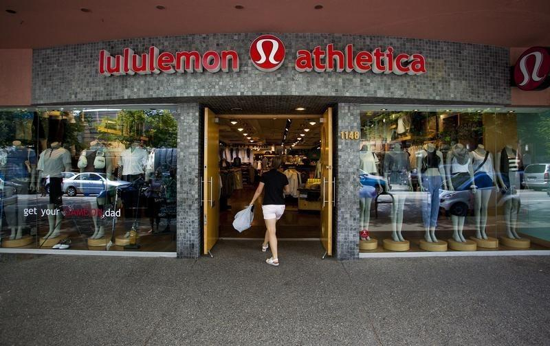 A woman walks into a store of yogawear retailer Lululemon Athletica in downtown Vancouver