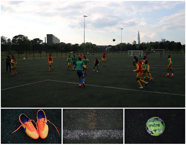 "A combination picture shows children playing soccer (top), and details of shoes, a pitch and a football, on an astro-turf pitch in south-east London, Britain, May 21, 2018. REUTERS/Hannah McKay SEARCH ""FOOTBALL GLOBAL"" FOR THIS STORY. SEARCH ""WIDER IMAGE"" FOR ALL STORIES."