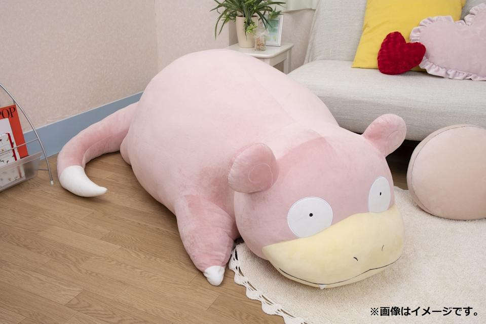 Weighing 7.8 kilograms, the life-sized Slowpoke plushie measures 150 centimetres long from its silly-looking face to the tip of its tail, 65 centimetres tall and 75 centimetres wide. (Photo: Pokemon Center Online)