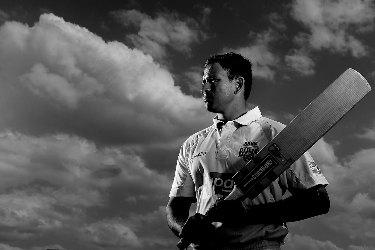 BRISBANE, AUSTRALIA - SEPTEMBER 25:  (EDITORS NOTE: Images has been converted to Black and White.) Usman Khawaja of the Queensland Bulls poses during a portrait shoot at Allan Border Field on September 25, 2012 in Brisbane, Australia.  (Photo by Chris Hyde/Getty Images)