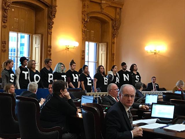 Activists protest the passing earlier this month of an Ohio law banning abortions in cases of a Down syndrome diagnosis. The law was signed on Dec. 22, 2017, by Gov. John Kasich. (Photo: AP)