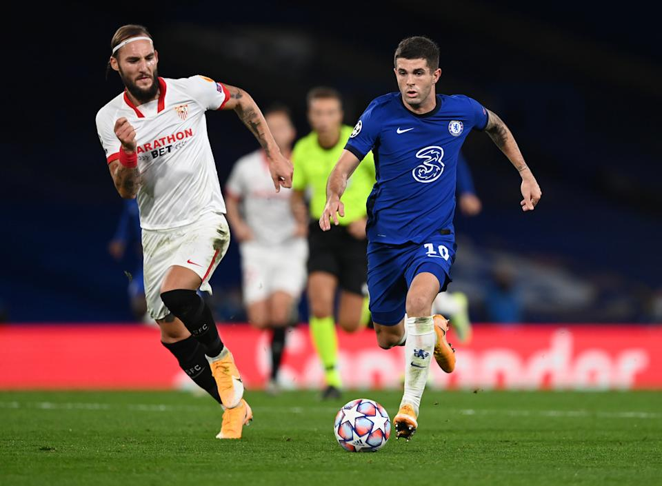 Christian Pulisic and Chelsea settled for a scoreless draw at home to Sevilla in its Champions League opener. (Darren Walsh/Getty Images)