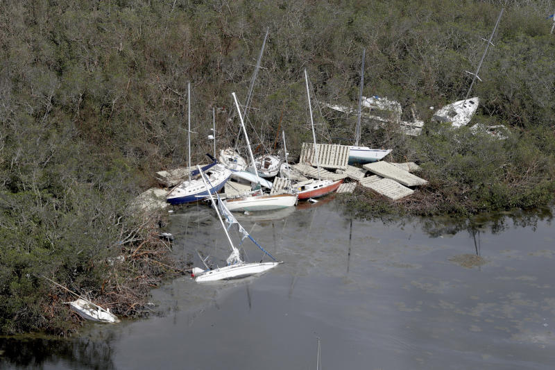 This photo shows the aftermath of Hurricane Irma in the Florida Keys, Wednesday, Sept. 13, 2017. Irma laid waste to beautiful Caribbean islands and caused historic destruction across Florida. The cleanup will take weeks; recovery will take months. (Mike Stocker/South Florida Sun-Sentinel via AP)