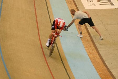 Cycling - Belgium's Victor Campenaerts takes the hour record at the Velodromo Bicentenario in Aguascalientes, Mexico, April 16, 2019 Belgium's Victor Campenaerts pedals during his attempt to break cycling's hour record REUTERS/Liberto Urena