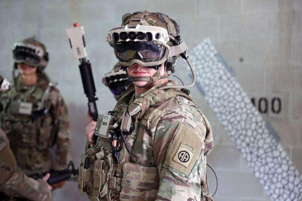 PHOTO: Soldiers from the 82nd Airborne Division use the latest prototype of the Integrated Visual Augmentation System (IVAS) during training at Fort Pickett, Va. (Courtney Bacon/Soldier Lethality CFT)