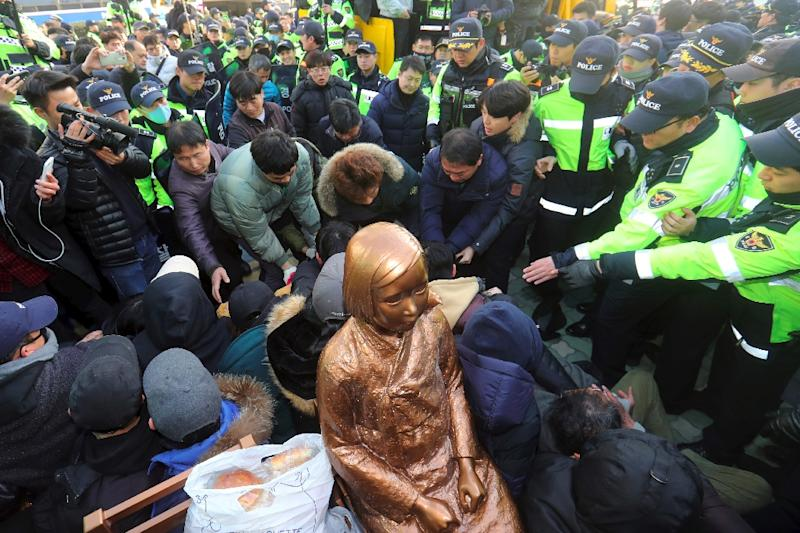 """Busan authorities say activists are free to place a symbolically charged """"comfort woman"""" statue outside the port's Japanese consulate"""