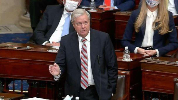 PHOTO: Sen. Lindsey Graham speaks as the Senate reconvenes to debate the objection to confirm the Electoral College Vote after protesters stormed the Capitol, Jan. 6, 2021. (ABC News)
