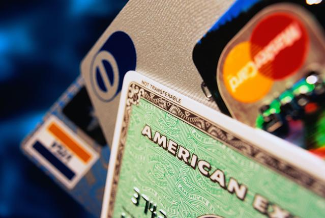 Four credit cards including, close-up. Photo: Getty