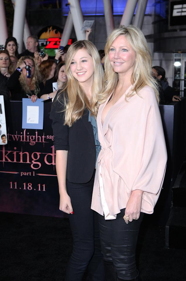 "Heather Locklear and her daughter arrive at the red carpet premiere for ""The Twilight Saga: Breaking Dawn – Part 1"" in Los Angeles, CA. (Photo by Nelson Balanton/Yahoo!)"