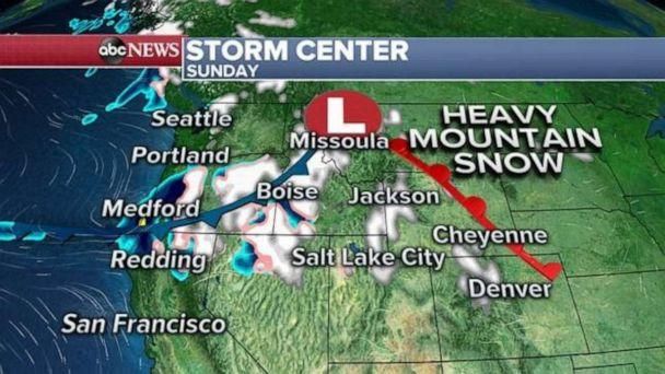 PHOTO: A storm is moving through the northern Rockies this morning and there is some snow falling from Oregon to Montana and into parts of Wyoming and Colorado. (ABC News)