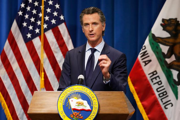 California Gov. Gavin Newsom discusses his revised 2020-2021 state budget during a news conference in Sacramento, California, May 14, 2020.