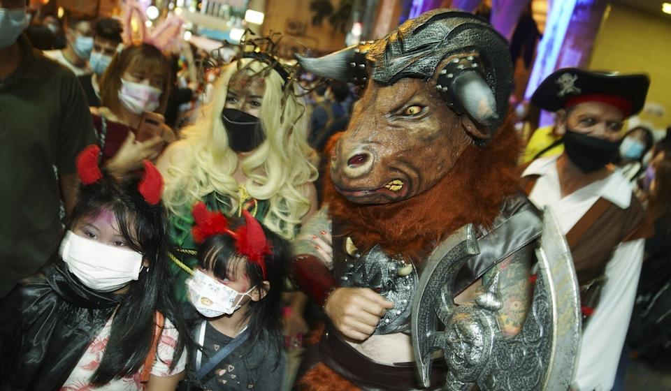 Revellers dressed up in Lan Kwai Fong on Halloween night. Photo: Winson Wong