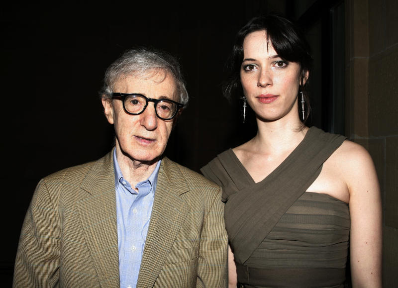 Rebecca Hall (right) poses with director Woody Allen at a film festival in Spain in September 2008. (Walter McBride via Getty Images)