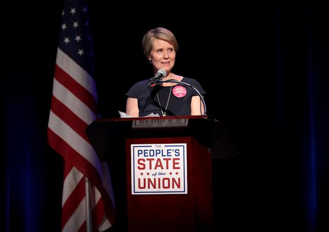 Cynthia Nixon speaks during a town hall in New York City on Jan. 29, 2018. (Photo: Roy Rochlin/Getty Images)