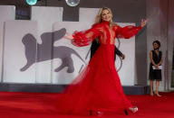 FILE - In this Sept, 5, 2021 file photo Kate Hudson poses for photographers upon arrival at the premiere of the film 'Mona Lisa And The Blood Moon' during the 78th edition of the Venice Film Festival in Venice, Italy. (AP Photo/Domenico Stinellis, File)