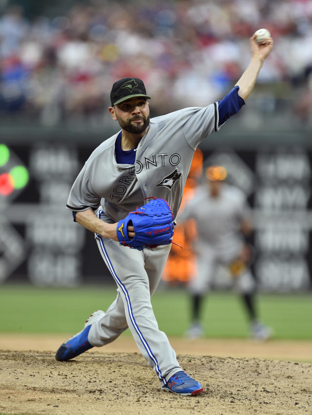 Toronto Blue Jays starting pitcher Jaime Garcia throws during the third inning of a baseball game against the Philadelphia Phillies, Saturday, May 26, 2018, in Philadelphia. (AP Photo/Derik Hamilton)