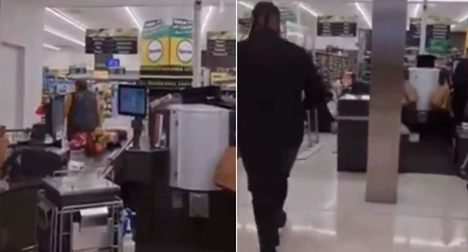 Screenshots from inside a Countdown store in New Zealand where a terror attack occurred.