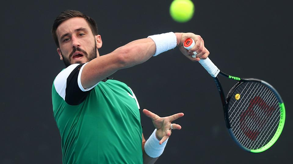 Damir Dzumhur denied levelling a death threat against the umpire after a furious tirade resulted in him being defaulted from the Mexico Open. (Photo by Mike Owen/Getty Images)