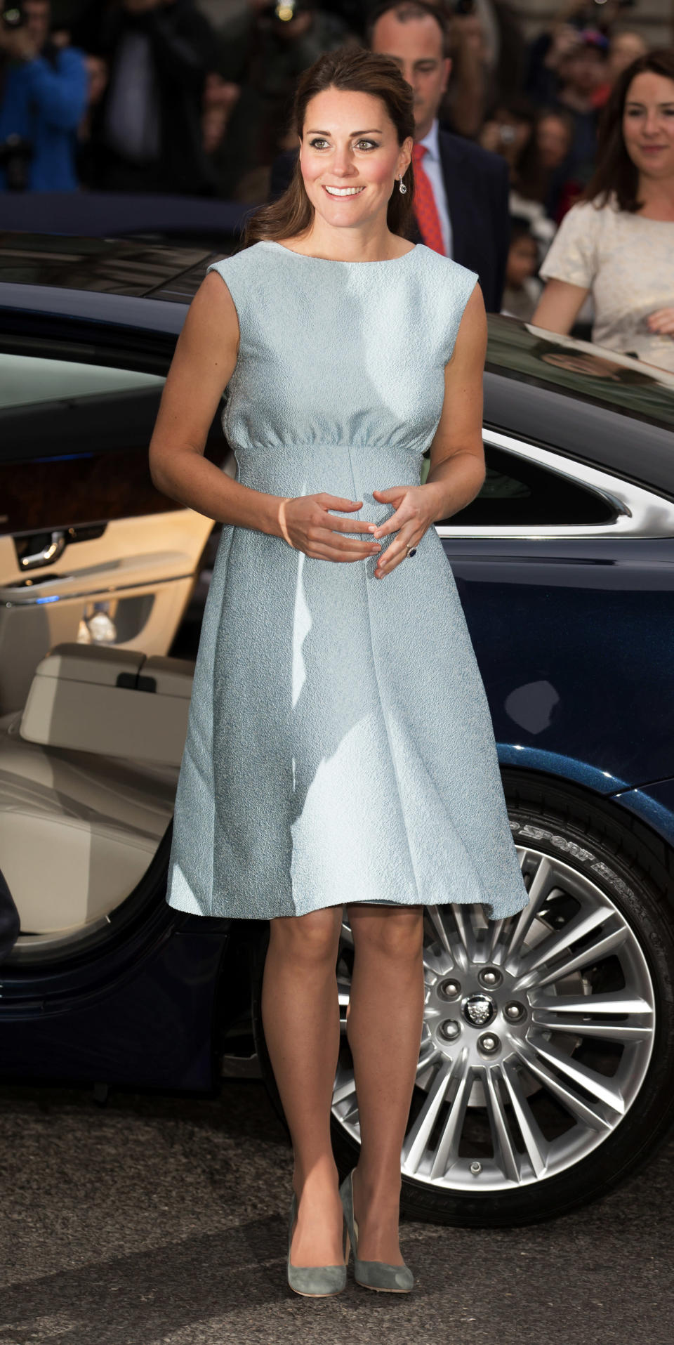 <p>In April 2013, the Duchess of Cambridge visited the Art Room at the National Portrait Gallery in a sleeveless dress by Emilia Wickstead. <em>[Photo: Getty]</em> </p>