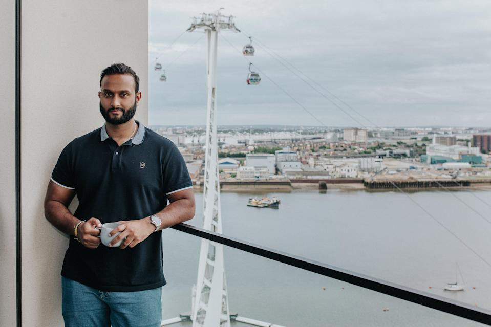 Upper Riverside  lifestyle: Raj  Tarrat payed  £575,000 for his  balcony flat with  use of residents  pool, spa, gym and  concierge services  on the Greenwich  Peninsula (Handout)