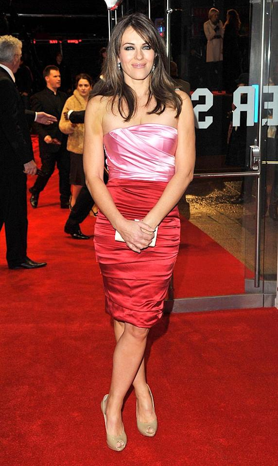 """Also sporting a form-fitting pink mini at the """"Morgan's"""" premiere was Elizabeth Hurley. The Estee Lauder spokesmodel was on hand to support her ex-boyfriend Hugh Grant who stars with SJP in the fish-out of-water flick. Jon Furniss/<a href=""""http://www.wireimage.com"""" target=""""new"""">WireImage.com</a> - December 8, 2009"""