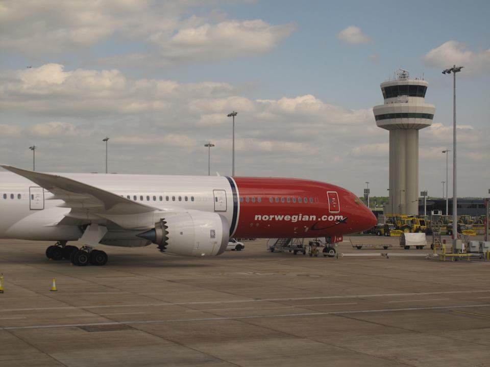 Troubled times: a Norwegian Boeing 787 at Gatwick airport (Simon Calder)