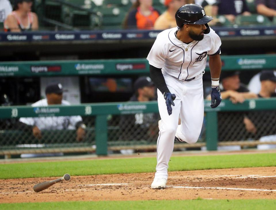 Tigers center fielder Derek Hill bats against Mariners pitcher Marco Gonzales during the second inning on Tuesday, June 8, 2021, at Comerica Park.