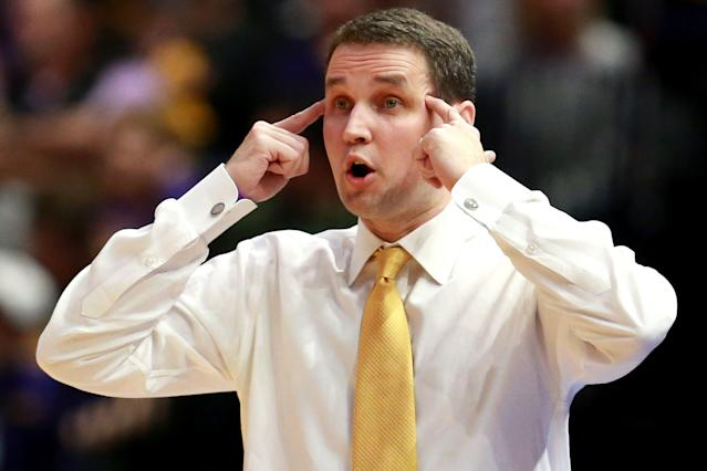 Head coach Will Wade of the LSU Tigers reacts to a play during a game against the Texas A&M Aggies at Pete Maravich Assembly Center on February 26, 2019 in Baton Rouge, Louisiana. (Getty Images)