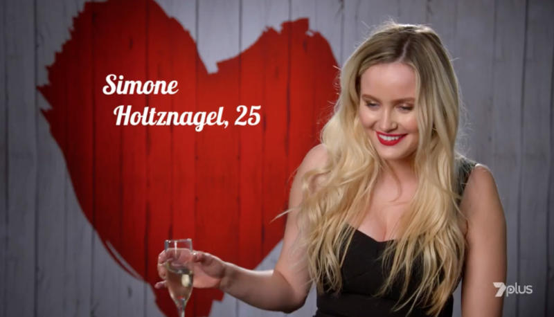 Simone finished the date with a glass of champagne, and a few choice words for Peter. Photo: Seven