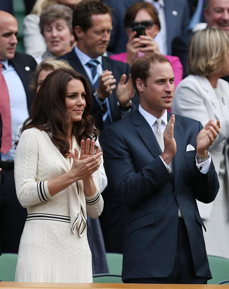 "<p class=""MsoNormal""><span>Kate Middleton and Prince William (aka the Duke and Duchess of Cambridge) looked relaxed and cheerful, chatting with fellow Royal Box spectators at Centre Court on July 4. </span></p>    <p class=""MsoNormal""><span>(Photo by Clive Rose/Getty Images)</span></p>"