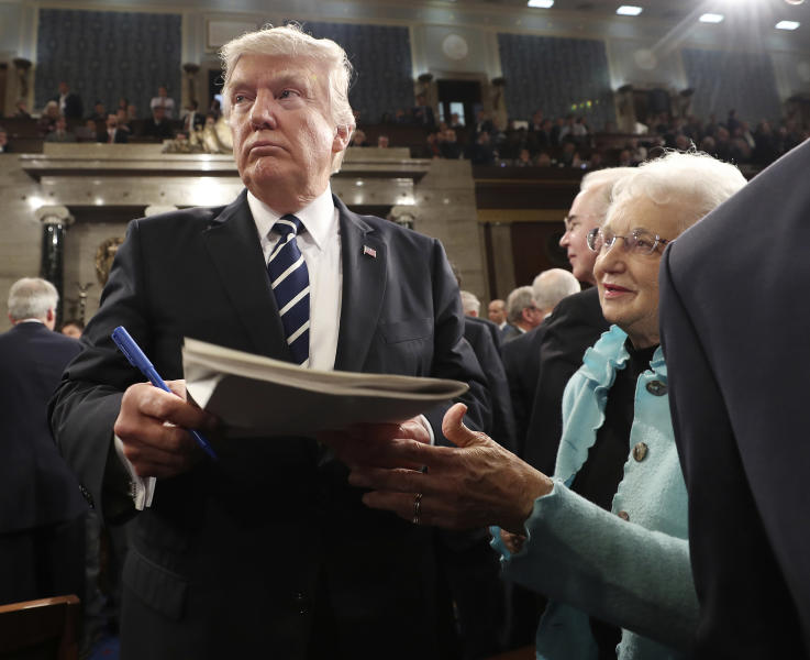 <p> President Donald Trump leaves after speech to a joint session of Congress on Capitol Hill in Washington, Tuesday, Feb. 28, 2017. (Jim Lo Scalzo/Pool Image via AP) </p>
