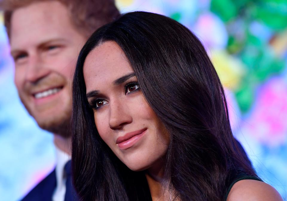 Waxwork models of Britain's Prince Harry and his fiancee Meghan Markle are seen on display at Madame Tussauds in London, Britain, May 9, 2018. REUTERS/Toby Melville