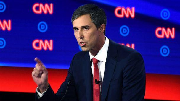 PHOTO: Democratic presidential hopeful former Rep. Beto O'Rourke delivers his closing statement during the first round of the second Democratic primary debate in Detroit, July 30, 2019. (Brendan Smialowski/AFP/Getty Images)