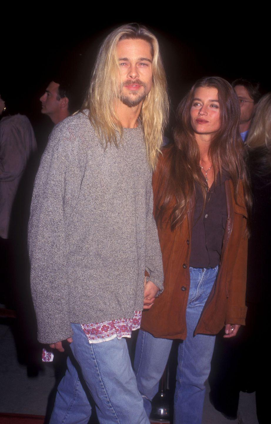 """<p>Pitt with then-girlfriend Jitka Pohlodek at the premiere of <em>Legends of the Fall. </em>The actor said he enjoyed making the film much more than his pervious hit, <em>Interview with the Vampire,</em> because he """"never saw the sun"""" when playing the undead Louis, telling <a href=""""https://www.vanityfair.com/news/1995/02/brad-pitt-199502"""" rel=""""nofollow noopener"""" target=""""_blank"""" data-ylk=""""slk:Vanity Fair"""" class=""""link rapid-noclick-resp""""><em>Vanity Fair</em></a> that it """"messed with [his] day.""""</p>"""