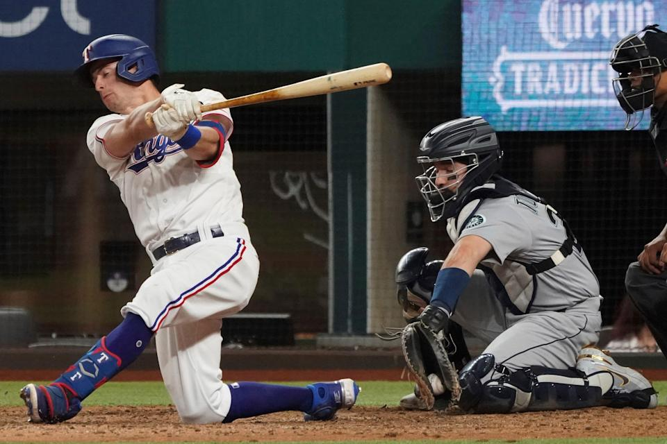 Nick Solak may be the Rangers' second-best hitter this season, but he struck out four times in the two no-hitters against the team.