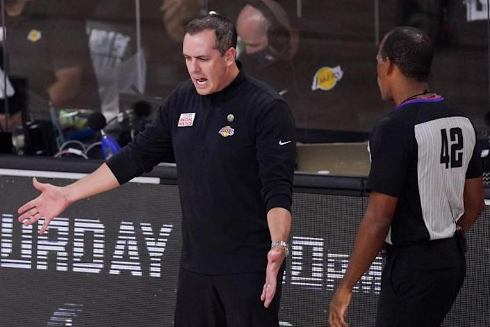 Los Angeles Lakers head coach Frank Vogel yells to referee Eric Lewis (42) during the second half.