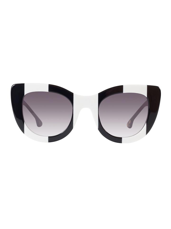 "<p>While alice + olivia's apparel and accessories may already be on your radar, the playful fashion brand just launched its first eyewear collection—and it's just as fun as you'd imagine. From 80's inspired round frames<span> to eccentric cat eyes, Stacey Bendet's inaugural eyewear collection is for the fashion girl who likes to have a little fun. </span></p><p><strong>Alice + Olivia Eyewear </strong>sunglasses, $375, <a rel=""nofollow"" href=""https://www.aliceandolivia.com/delancey-crystal-181-2.html"">aliceandolivia.com</a>. </p>"