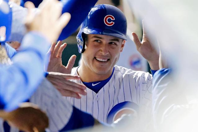 "<a class=""link rapid-noclick-resp"" href=""/mlb/players/8868/"" data-ylk=""slk:Anthony Rizzo"">Anthony Rizzo</a> enjoyed an original song from a young Cubs fan. (Photo by Jon Durr/Getty Images)"