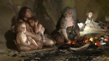 An exhibit shows the life of a neanderthal family in a cave in the new Neanderthal Museum in the northern town of Krapina February 25, 2010. The high-tech, multimedia museum, with exhibitions depicting the evolution from 'Big Bang' to present day, opens on February 27. REUTERS/Nikola Solic