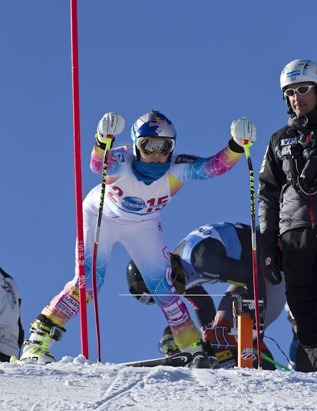 Lindsey Vonn, of Vail, Colo., gets in the starting gate before heading down the speed-training course at the U.S. Ski Team training center at Copper Mountain, Colo., Thursday, Nov. 7, 2013. (AP Photo/Nathan Bilow)
